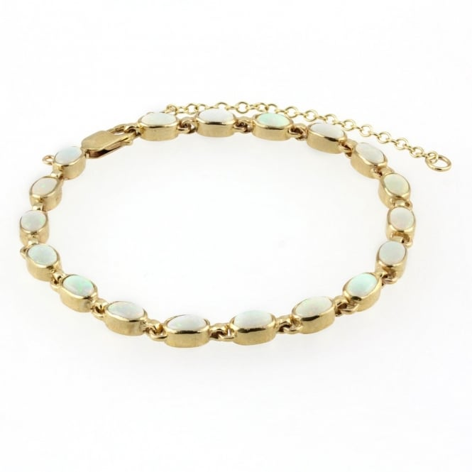 9ct yellow gold 6x4mm oval opal rubover bracelet.