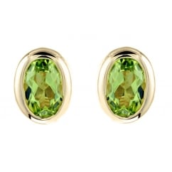 9ct yellow gold 6x4mm oval peridot stud earrings.