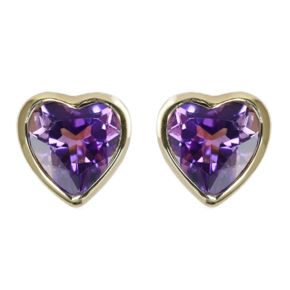 9ct Yellow Gold 6x6mm Heart Amethyst Stud Earrings Jewellery From