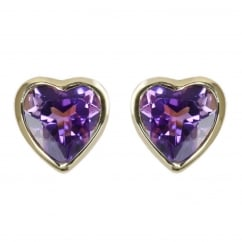 9ct yellow gold 6x6mm heart amethyst stud earrings.