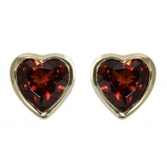 9ct yellow gold 6x6mm heart garnet rubover stud earrings.