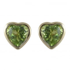 9ct yellow gold 6x6mm heart peridot stud earrings.