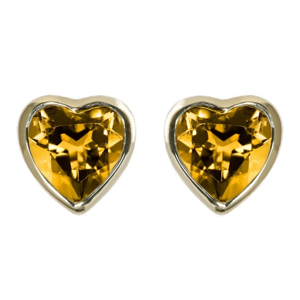 gold diamond natural heart stud yellow products genuine earrings shaped