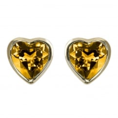 9ct yellow gold 6x6mm heart shaped citrine stud earrings.