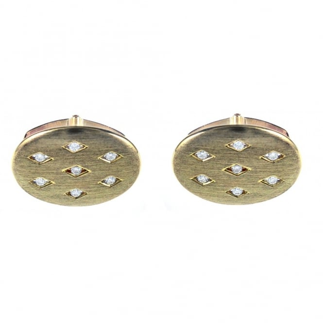 9ct yellow gold 7 stone round brilliant diamond satin cufflinks
