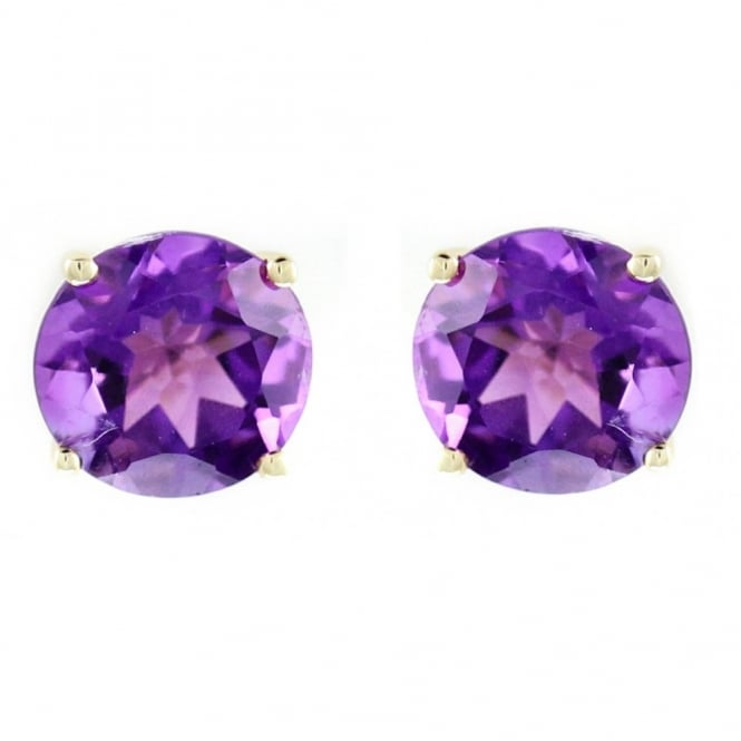 9ct yellow gold 7mm x 7mm round amethyst stud earrings.