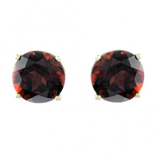 9ct yellow gold 7mm x 7mm round garnet stud earrings