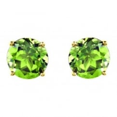 9ct yellow gold 7mm x 7mm round peridot stud earrings.