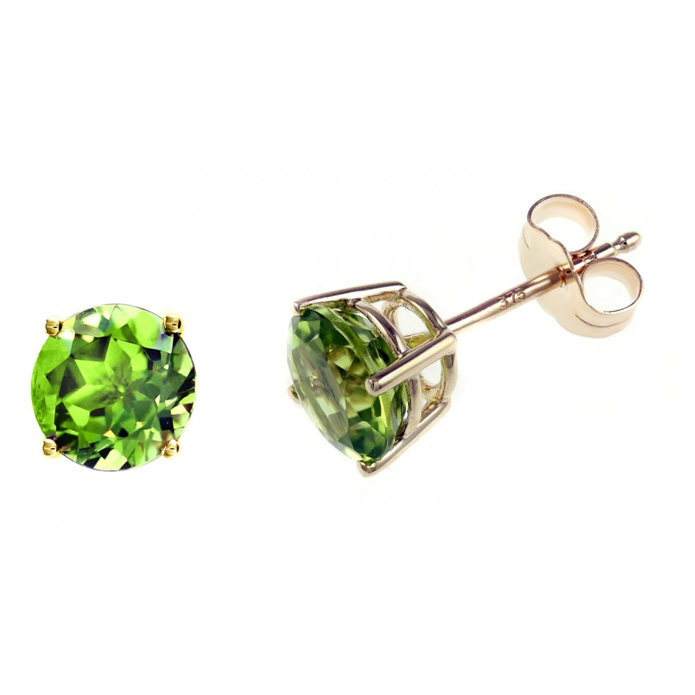 earrings stud peridot sterling oval silver