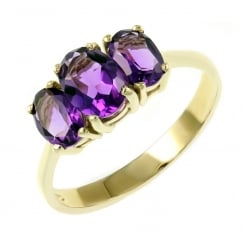 9ct yellow gold 7x5mm & 6x4mm amethyst 3 stone ring.
