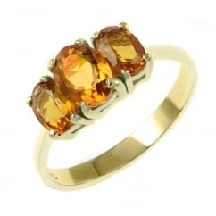 9ct yellow gold 7x5mm & 6x4mm citrine 3 stone ring.