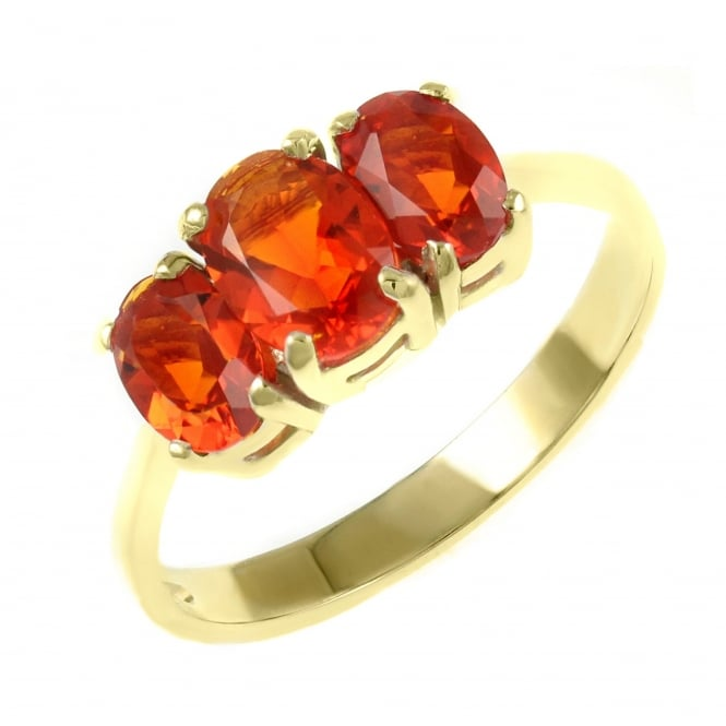 9ct yellow gold 7x5mm & 6x4mm fire opal 3 stone ring.