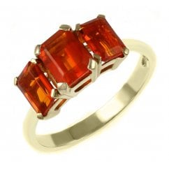 ae7c5f6a7 9ct yellow gold 7x5mm 6x4mm fire opal 3 stone ring
