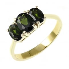 9ct yellow gold 7x5mm & 6x4mm green tourmaline 3 stone ring