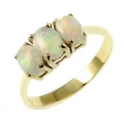 9ct yellow gold 7x5mm & 6x4mm opal 3 stone ring.
