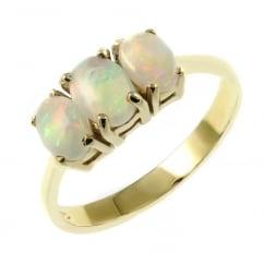 f6e69f8b7 9ct yellow gold 7x5mm & 6x4mm oval opal 3 stone ring