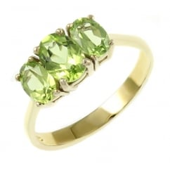 9ct yellow gold 7x5mm & 6x4mm peridot 3 stone ring.