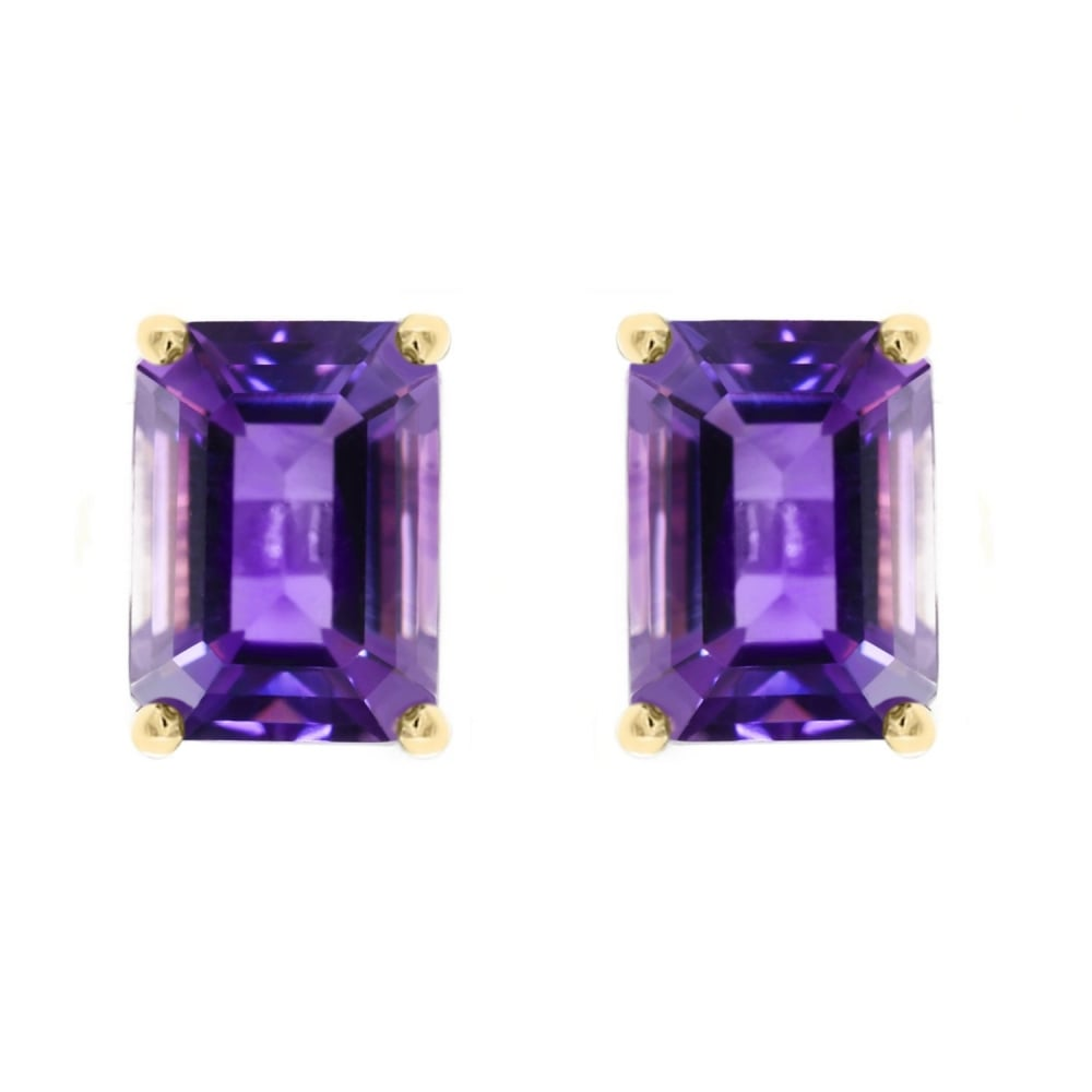 9ct Yellow Gold 7x5mm Amethyst Stud Earrings Jewellery From Mr Harold And Son Uk