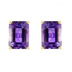 9ct yellow gold 7x5mm amethyst stud earrings.