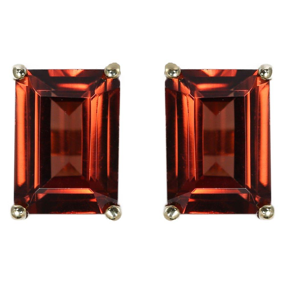 9ct Yellow Gold 7x5mm Emerald Cut Garnet Stud Earrings