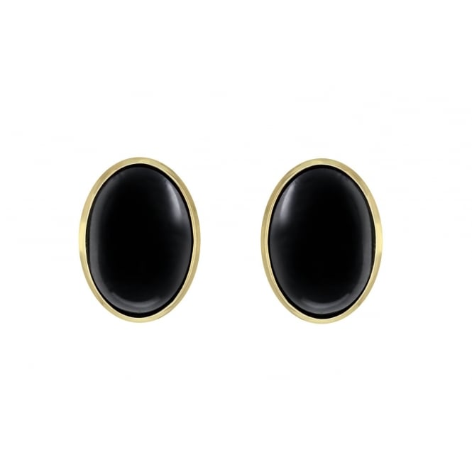 9ct yellow gold 7x5mm onyx stud earrings.