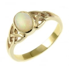 9ct yellow gold 7x5mm opal rubover celtic design ring.