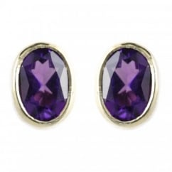 9ct yellow gold 7x5mm oval amethyst rubover stud earrings.