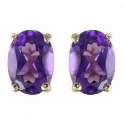 9ct yellow gold 7x5mm oval amethyst stud earrings.