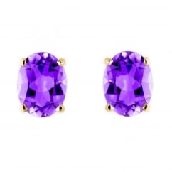 9ct yellow gold 7x5mm oval amethyst stud earrings