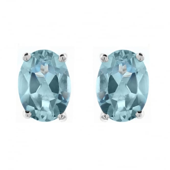 9ct yellow gold 7x5mm oval auqamarine stud earrings.