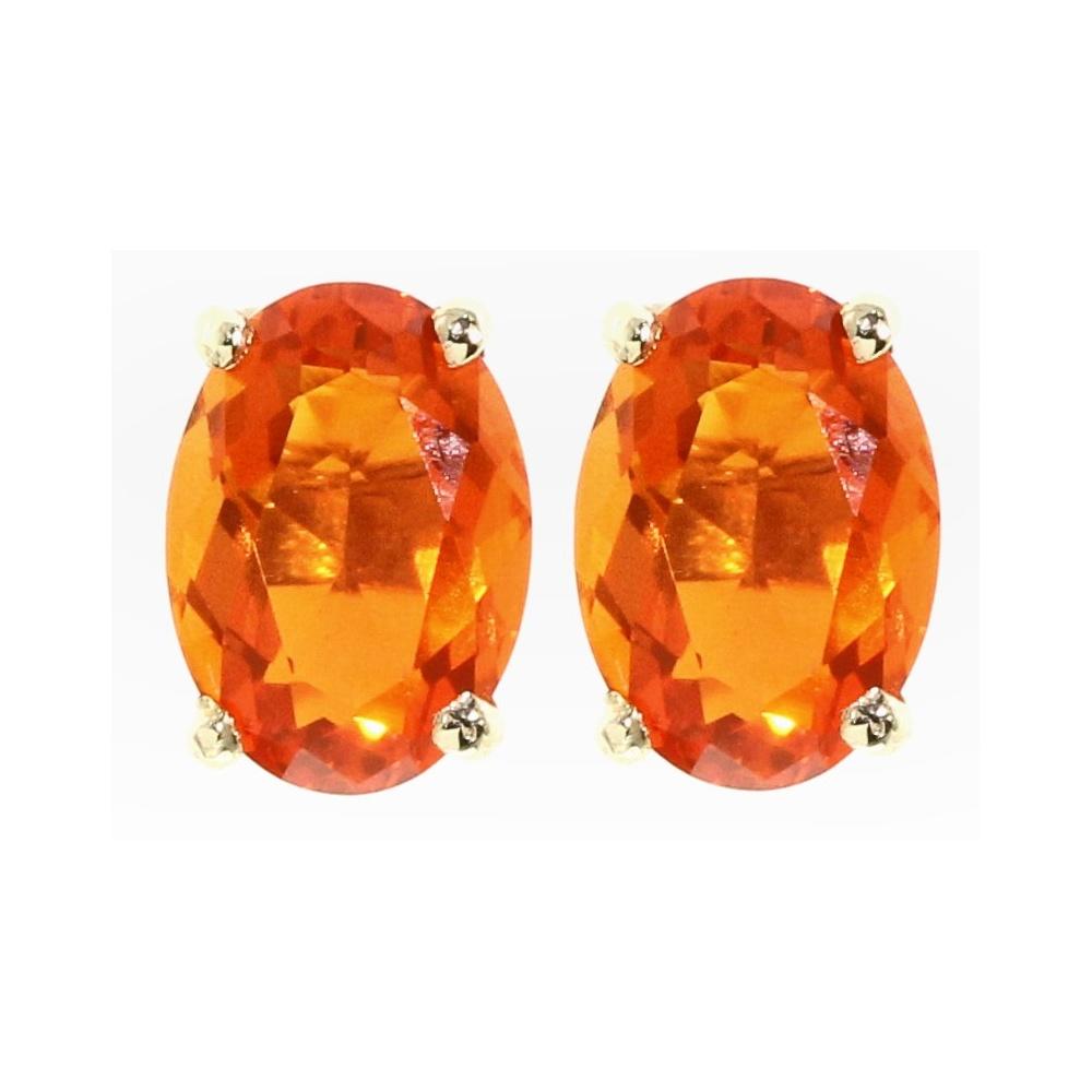 9ct Yellow Gold 7x5mm Oval Fire Opal Stud Earrings