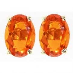9ct yellow gold 7x5mm oval fire opal stud earrings.