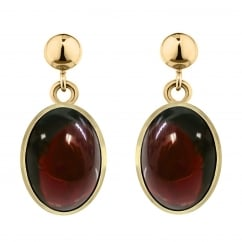 9ct yellow gold 7x5mm oval garnet rubover earrings.
