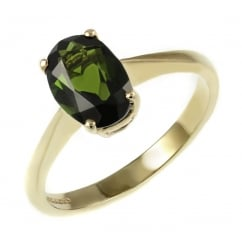 9ct yellow gold 7x5mm oval green tourmaline ring.