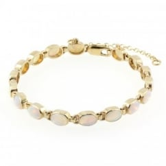9ct yellow gold 7x5mm oval opal rubover bracelet.