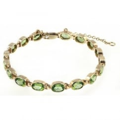 9ct yellow gold 7x5mm oval peridot rubover bracelet.