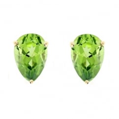 9ct yellow gold 7x5mm pear peridot stud earrings.