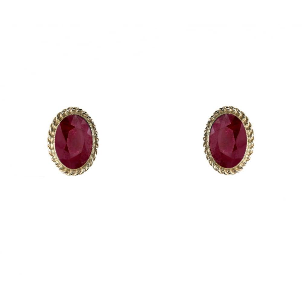 9ct Yellow Gold 7x5mm Ruby Stud Earrings