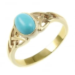9ct yellow gold 7x5mm turquoise rubover celtic design ring.