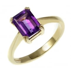 9ct yellow gold 8x6mm emerald cut amethyst ring.