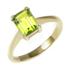 9ct yellow gold 8x6mm emerald cut peridot ring.