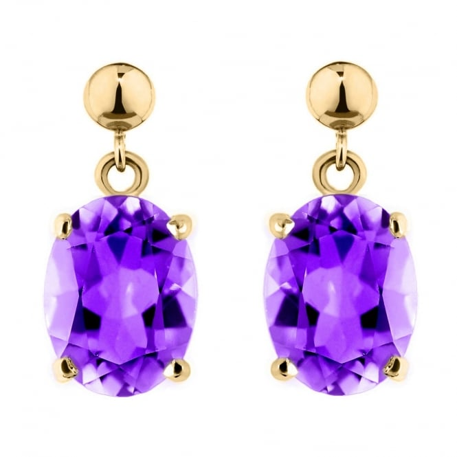 9ct yellow gold 8x6mm oval amethyst drop earrings.