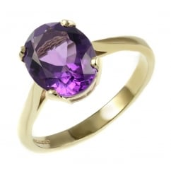 9ct yellow gold 8x6mm oval amethyst ring.