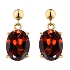 9ct yellow gold 8x6mm oval garnet drop earrings.