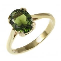 9ct yellow gold 8x6mm oval green tourmaline ring.