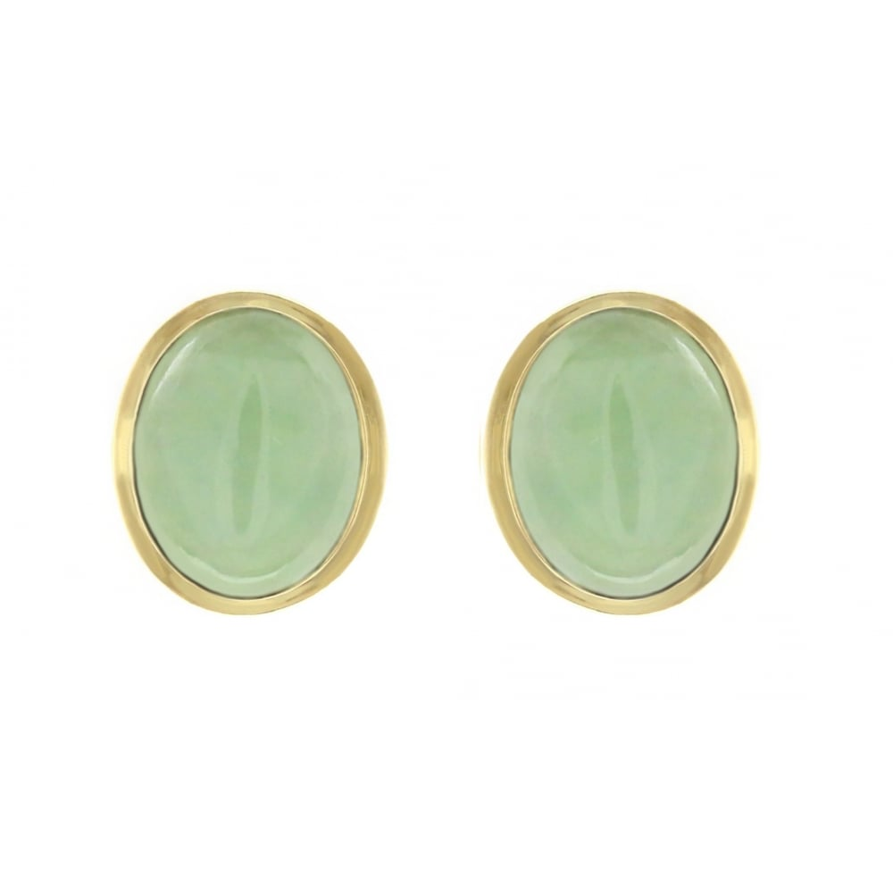 9ct Yellow Gold 8x6mm Oval Jade Earrings