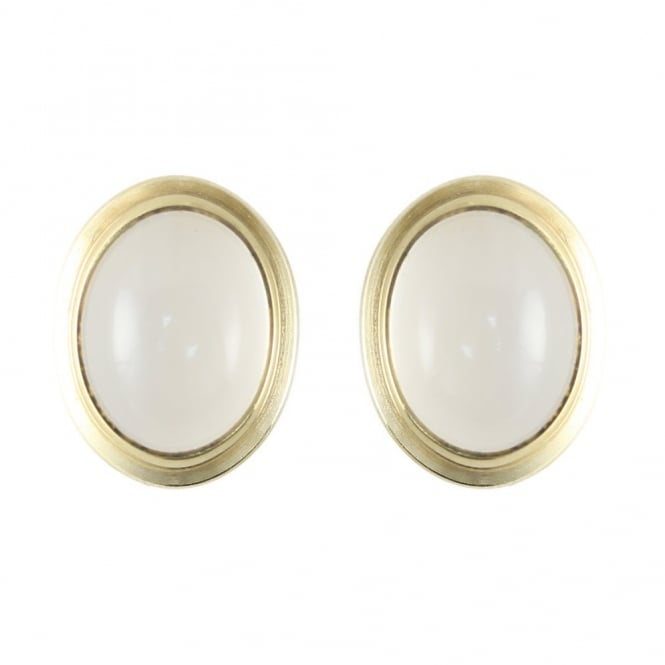 9ct yellow gold 8x6mm oval moonstone stud earrings.
