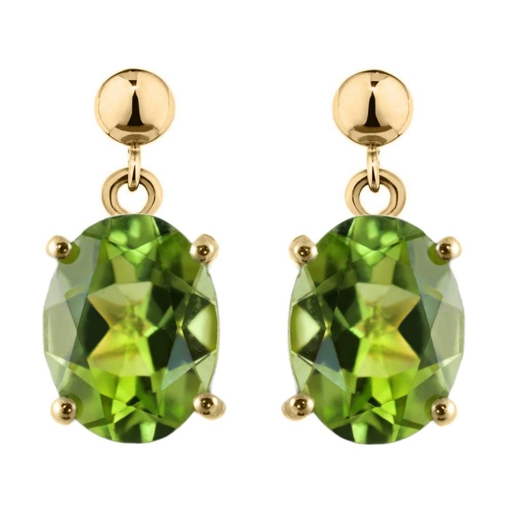 9ct Gold Peridot Oval long Drop earrings tqscj