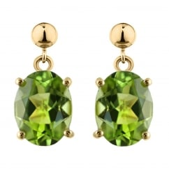 9ct yellow gold 8x6mm oval peridot drop earrings.
