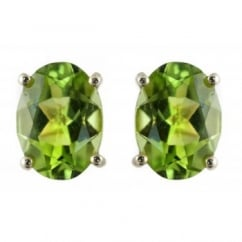 9ct yellow gold 8x6mm oval peridot stud earrings.